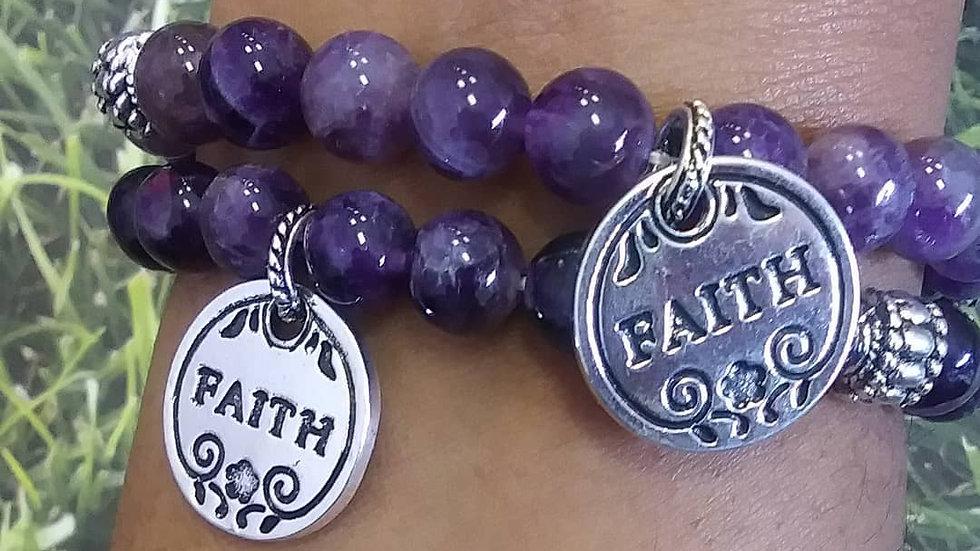 """Amethyst """"Faith """"  Charm Bracelet 8mm"""