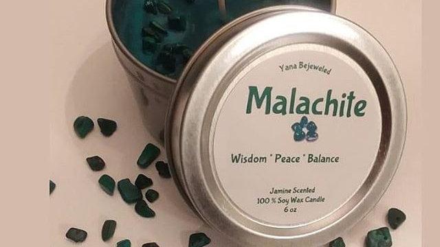 Malachite Stone Candle 6 oz