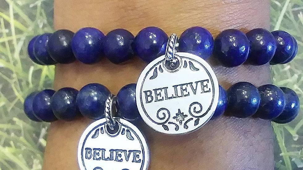 "Lapis "" Believe"" Charm Bracelet"