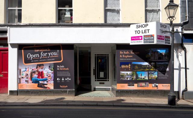 tavistock billboard vinyl on closed businesses in the town.