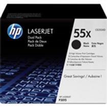 HP 55X 2 pack High Yield Black Original LaserJet Toner Cartridges