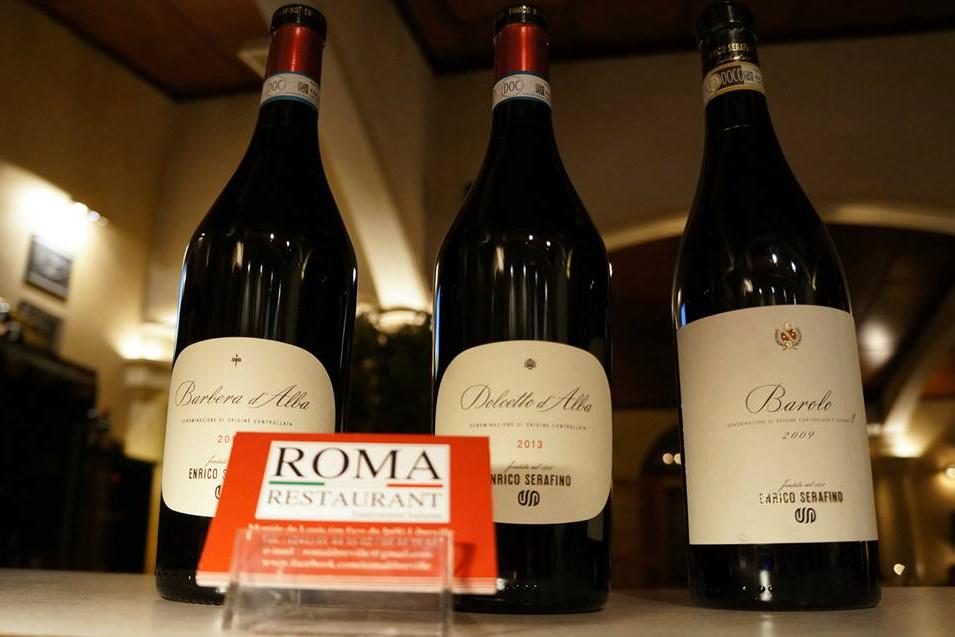 Barolo, Dolcetto d'Alba, Barbera, Enrico Serafino, Vin Italien, Roma Restaurant, Libreville - Gabon