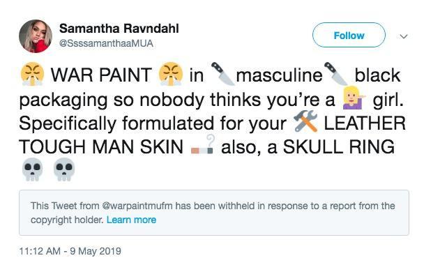 """Imagen de Twitter que dice """"Pintura de Guerra (War Paint) en su empaque masculino negro para que nadie piense que es una chica. Especialmente formulado para su piel de trabajador."""""""