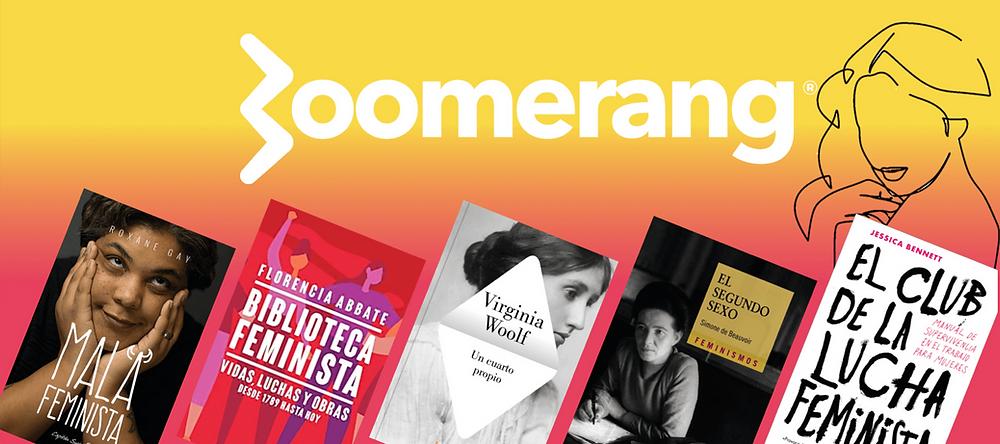 boomerang. arte de una silueta de mujer y 5 libros sobre la lucha feminista