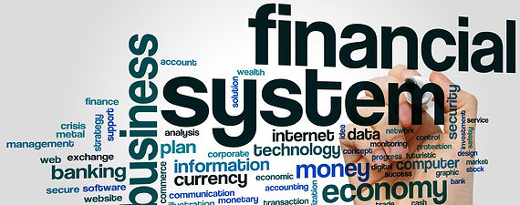 Financial system word cloud concept on g