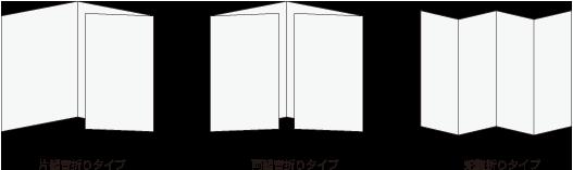 三つ折りタイプ、観音折りタイプ、蛇腹折りタイプ