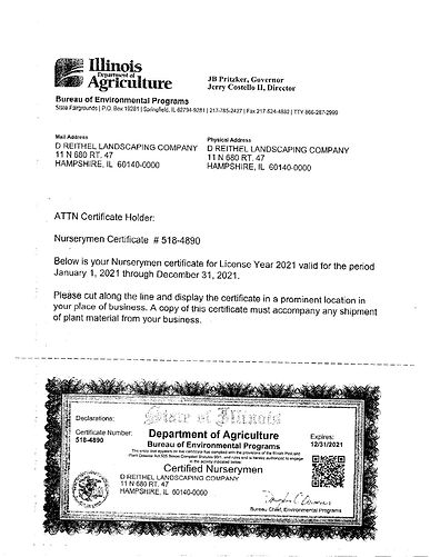 Department of Agriculture Certificate 20