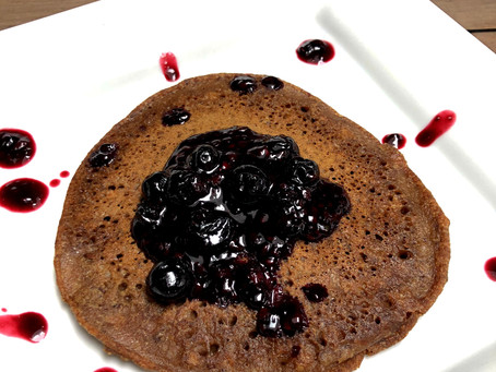 Teff Banana Pancakes with Berry Sauce (Vegan and Gluten-Free)