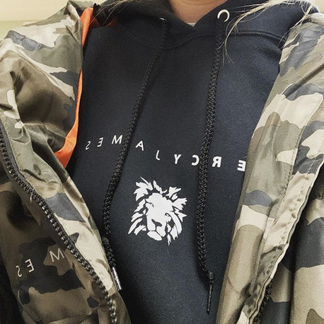 White on Black Classic Hoodie and Camo Puff