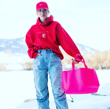 Pink on Red Classic Hoodie