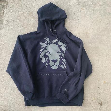 Charcoal on Black Lion Hoodie