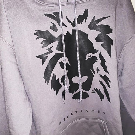 Black on Gray Lion Hoodie