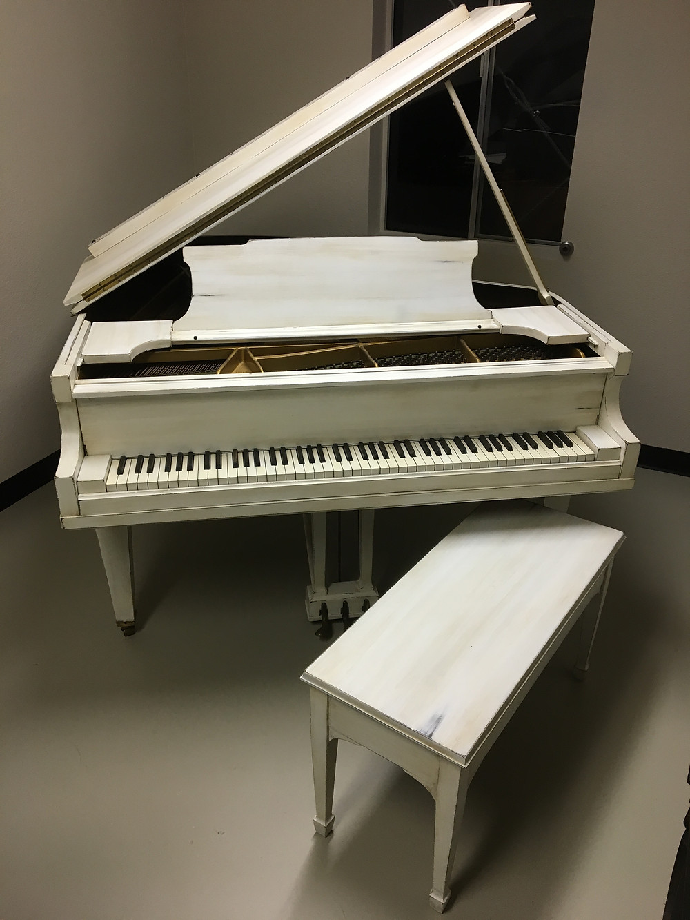 Painted White Shabby Chic Grand Piano