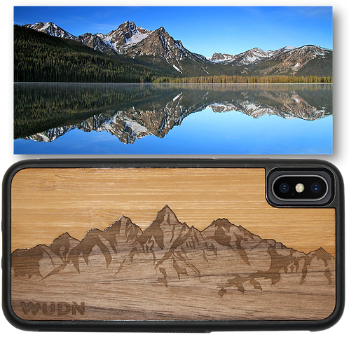 Slim Wooden Phone Case | Sawtooth Mountains Bamboo Sky
