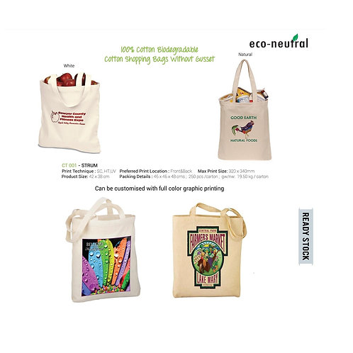 Eco Friendly Cotton Shopping Bags - White