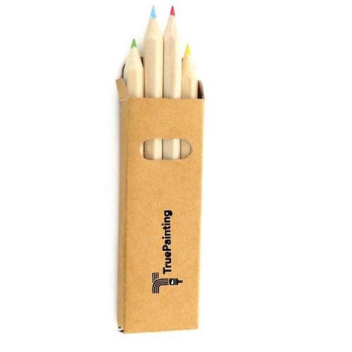 Box Of 4 Wooden Pencils With Hexagonal Body