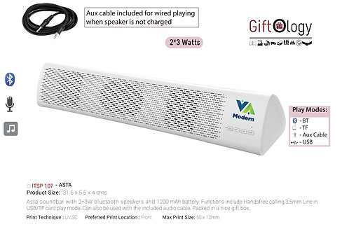 Giftology Asta Soundbar With 2*3W Bluetooth Speakers And 12