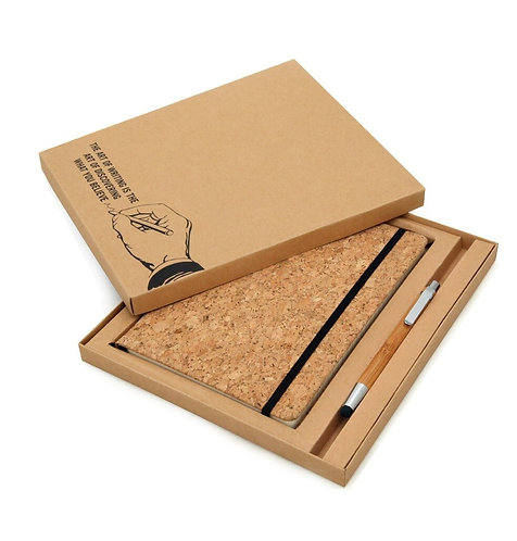 Eco-neutral Cork Notebook And Bamboo Pen Packed In Gift Box
