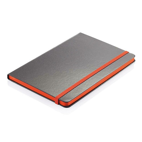 Santhome Sukh Hardcover A5 Ruled PVC Notebook Black-Orange