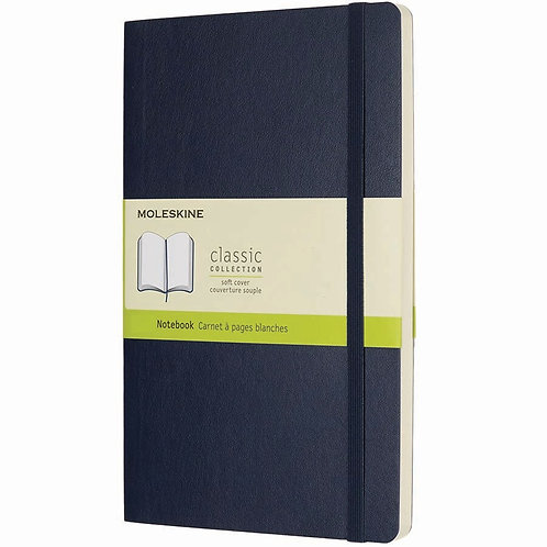 Moleskine Large Soft Cover, Ruled Notebook (Sapphire Blue)