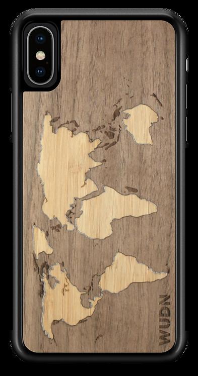 Slim Wooden Phone Case (Walnut Inlay) | World Map Traveler