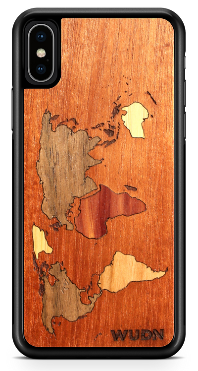 Slim Wooden Phone Case (Mahogany Inlay) | World Map Traveler