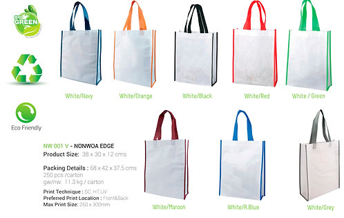 Non-Woven Shopping Bag Vertical White/N.Blue