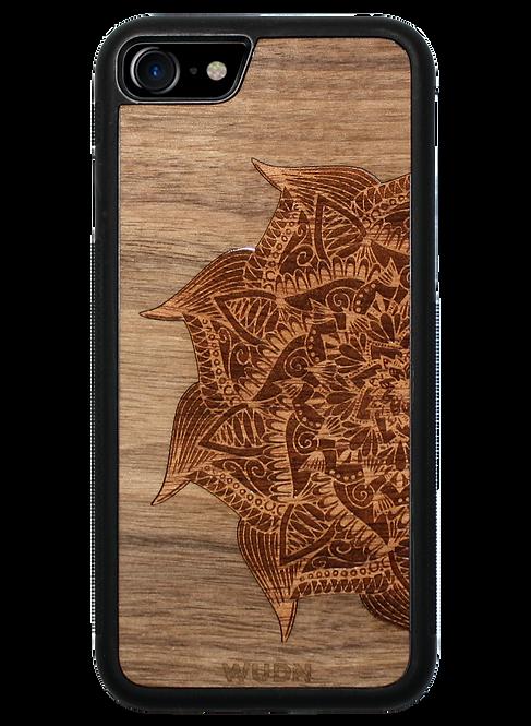 Slim Wooden Phone Case | Mandala in Black Walnut & Aromatic Cedar Inlay