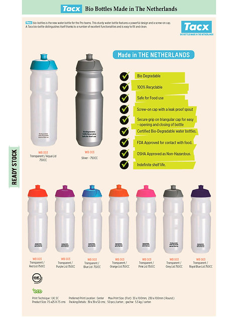 Tacx ECO Friendly Biodegradable Water Bottles In 750 CC