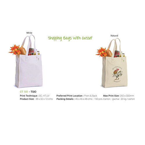 Shopping Bag With Gusset - White