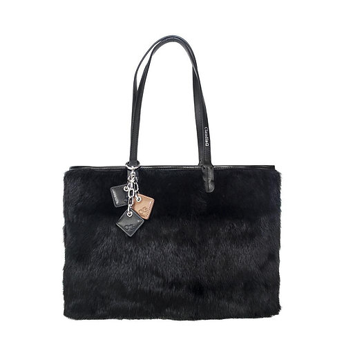 Olivia Fur+Leather Handbag - Black