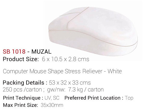 MUZAL Computer Mouse Shape Stress Reliever - White