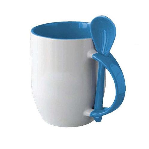 11oz-Colored Inside Handle Spoon Mug-Sky Blue
