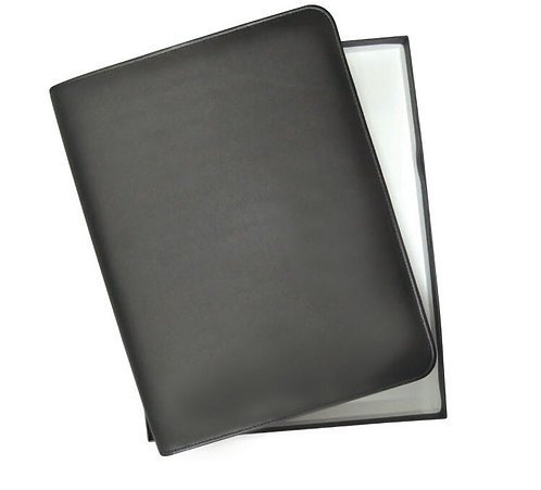 Santhome Lithe Real Leather Cow Fine Touch A4 Folder In Bla