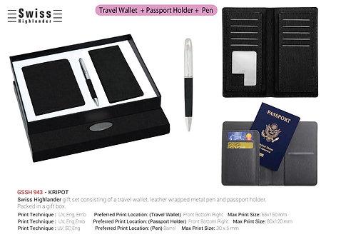 Swiss Highlander KRIPOT Travel Wallet + Passport Holder + P