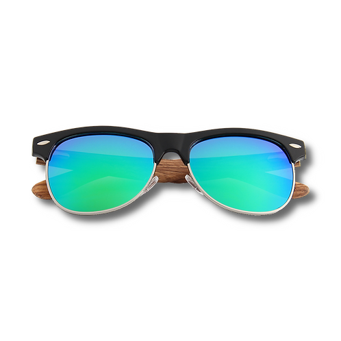 Real Zebra Wood Browline Style RetroShade Sunglasses by WUDN