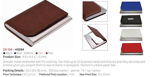 HODIM Smooth Metal Cardholder With PU Covering Blue