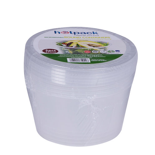 Hotpack-micro wave container Round 450ml-5pcs