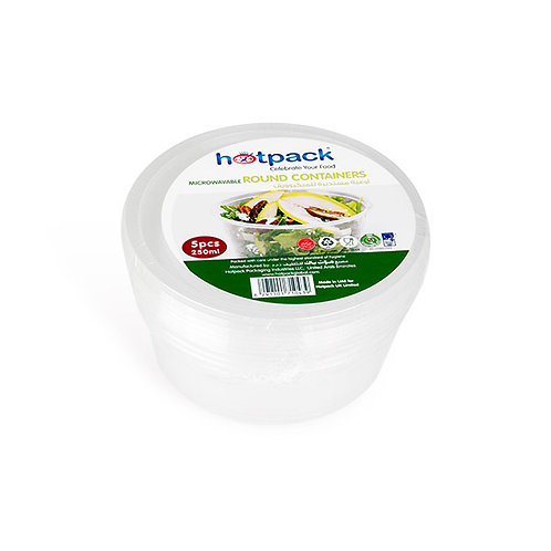Hotpack-micro wave container round 250ml-5pcs