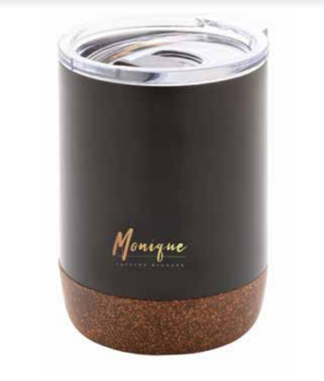 GOUDA - Vaccum Tumbler With Cork Base 180ml - Black