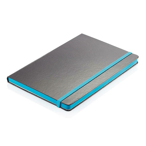 Santhome Sukh Hardcover A5 Ruled PVC Notebook Black-Blue