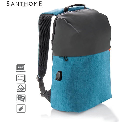 Santhome Fashnove Smart USB Backpack Blue
