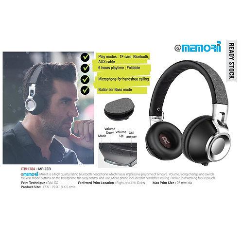 Mrizer Fabric Bluetooth Headphone (Grey/Black)