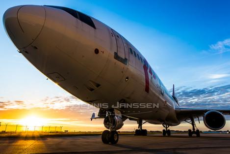 Martinair at sunset at Amsterdam