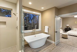 Large furnished bathroom in luxury home
