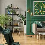 Emerald green interior with grey accents