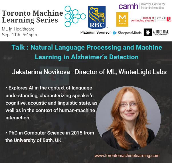 Come here from Jekaterina Novikova, PhD the Director of ML at WinterLight Labs on her talk about using human speech to detect cognitive impairments.