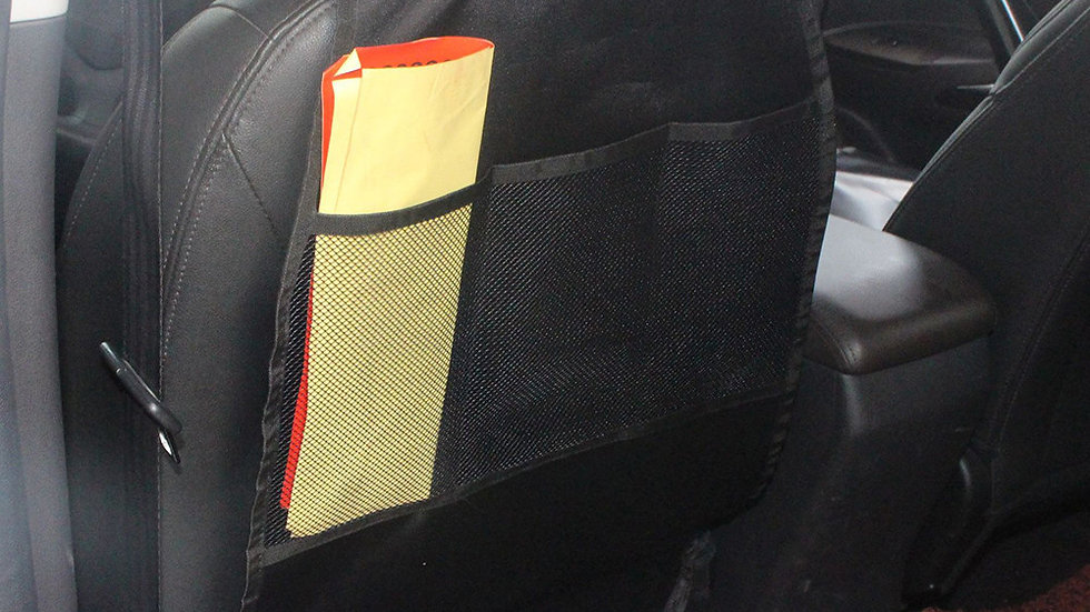 Universal Car Seat Back Protector with Pockets