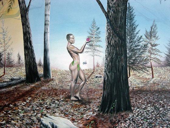 "#026 "" Returning The Apple"" original oil on canvas"