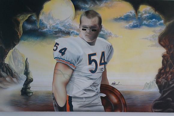 """#033 """" Brian Urlacher"""" air brush/oil on canvas"""
